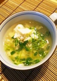 蕎麦の実!豆腐・豆苗の白だしスープ♪