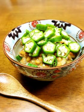 納豆とオクラのネバネバ冷たいスープご飯