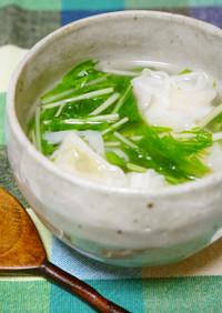 シャキシャキ水菜と海老焼売の塩スープ