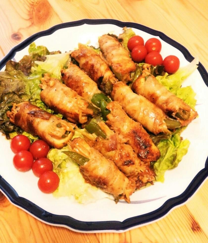 厚揚げでかさ増し♪豚バラ肉の野菜巻き。