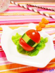 お弁当の隙間埋め♡野菜バーガーの写真
