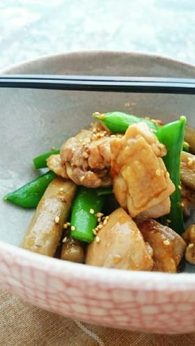 色鮮やか✾スナップエンドウと鶏の簡単炒め