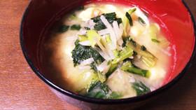 栄養満点。大根と小松菜と油揚げのお味噌汁
