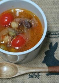 人参ドレッシングで具だくさん豆のスープ