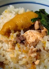 海の幸!ウニと鮭の炊き込みご飯(ウニ飯)