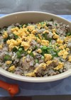 卵のせ塩昆布とレタス炒飯