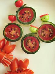 スイカなミニトマト キャラ弁おかずの写真