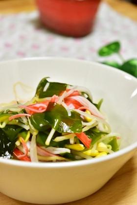 小松菜ともやしとカニカマのサラダ