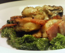 牡蠣と菜の花のソテー