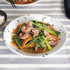 豚こまと小松菜のみそ炒め