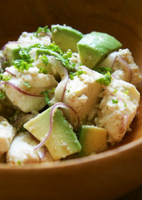 豆腐とアボカドのゆず胡椒サラダ