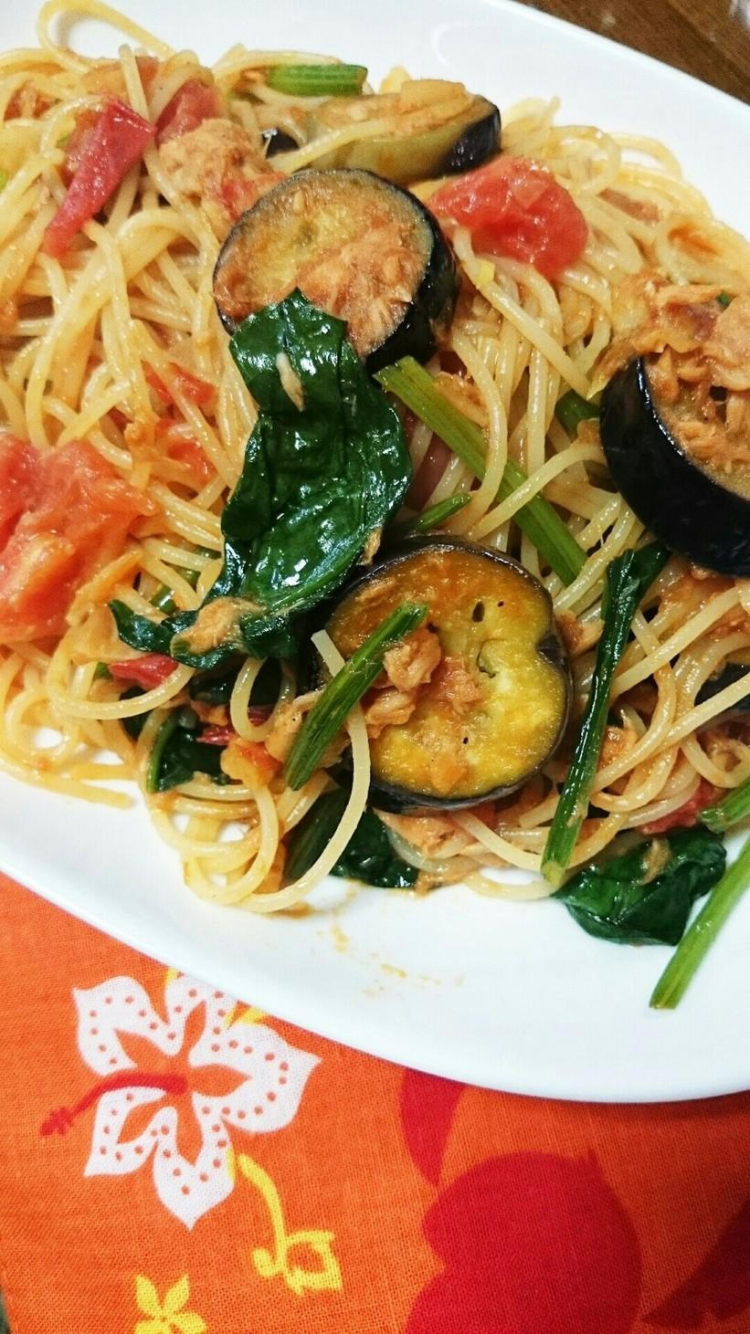 時短!夏野菜とツナのスパゲティー