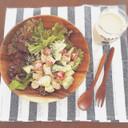 照り焼きチキンのコブサラダ