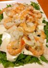 海老&エキスで水菜、豆腐、新玉葱のサラダ