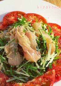 白身魚のジンジャーカルパッチョサラダ風