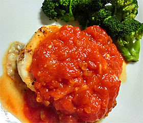 カジキマグロの塩麹トマトソース