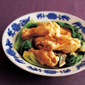 手羽元と青梗菜の中華風皿蒸し