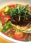 豆腐麺ともずくでひんやりトマトソーメン♪