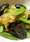 絹さやと茄子と新玉ねぎの焼き肉のたれ炒め
