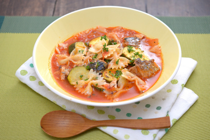 妊娠、授乳に!さば缶でトマトスープパスタ