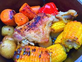 ダッチオーブンですだち鶏のローストチキン