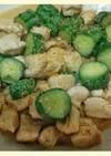 きゅうりと鶏むね肉の棒々鶏風練りごま炒め