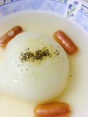 電子レンジで!玉ねぎのまるごとスープの写真