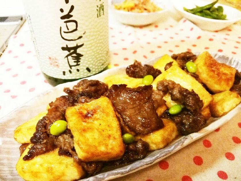 *牛肉と豆腐のにんにく照り焼き*
