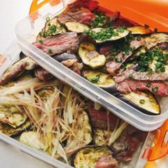 焼きなすと牛肉のマリネサラダ2種