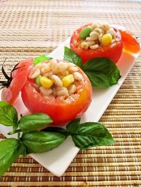 ヘルシー☆黒酢押し麦のトマトカップサラダ