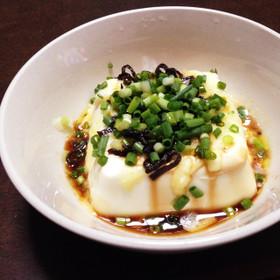 レンジで♪チーズと塩昆布の湯豆腐おつまみ
