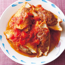 厚揚げの肉詰めトマト煮