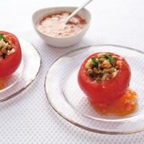 納豆と玉ねぎのトマトカップサラダ