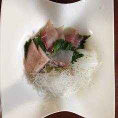 お刺身ののっけ盛り蕎麦☆柚子胡椒風味♪