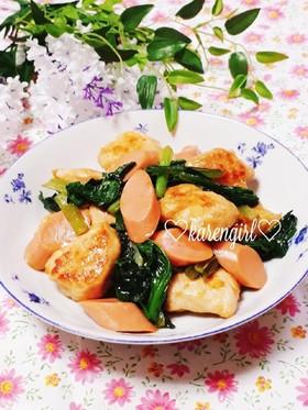 とりムネと小松菜のガーリック醤油炒め