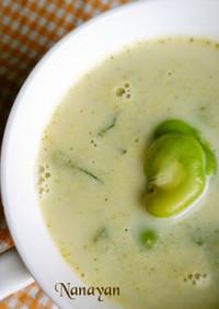 無塩料理☆そら豆とブロッコリーのスープ