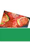 ミニトマトソースがけ☆ピーマン肉詰め