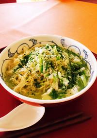 緑のラーメン☆お茶プレッソでカテキン摂取