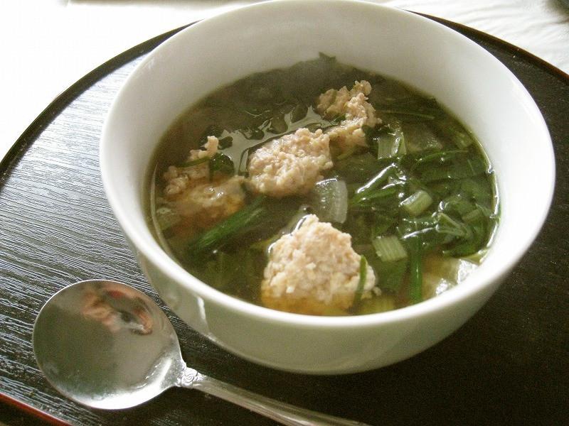 小松菜と鶏団子のスープ@10分