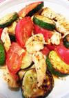 ズッキーニとササミとトマトのバジル炒め