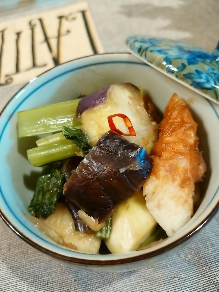 茄子と小松菜の生姜蒸し
