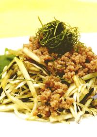 フレッシュ茄子のジャージャー麺風