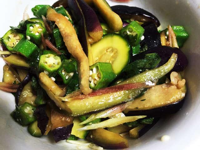 茄子とオクラとズッキーニの簡単和風サラダ