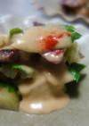 焼き茄子と牛ソテーのミルフィーユ風