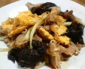 豚肉とキクラゲの玉子炒め