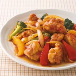 鶏肉と彩り野菜の甘辛黒酢いため