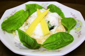 チンゲン菜の卵白仕立て