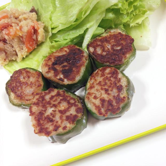 豆腐でカサ増し&ヘルシーピーマンの肉詰め