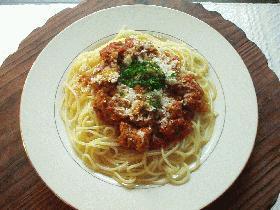 肉団子とトマトのスパゲティ