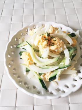 簡単!新玉ねぎと卵のマヨポン酢サラダ。